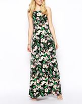 Asos Maxi Dress In Floral Print With Scoop Back