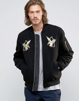 Asos Souvenir Jacket In Soft Handle With Eagle Embroidery In Black