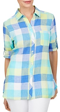 Foxcroft Tamara Check Print Easy Care Linen Shirt