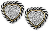 Effy Balissima by Diamond Cable Heart Stud Earrings (1/5 ct. t.w.) in Sterling Silver and 18k Gold