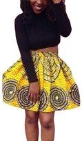 Dearlovers Women Retro African Print High Waist A Line Short Skirt