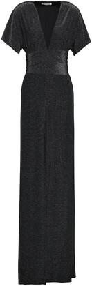 Halston Tie-back Metallic Crepe Gown
