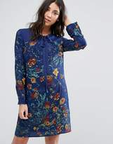 Lavand Printed Shift Dress With Tie Neck