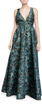 Zac Posen Floral Jacquard Sleeveless Gown with Bow Back Detail