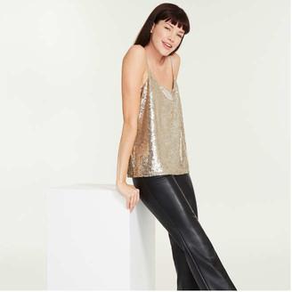 Joe Fresh Women's Sequin Cami, Gold (Size XS)