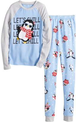 Cuddl Duds Girls 4-12 Jammies For Your Families Cool Penguin Top & Pants Pajama Set