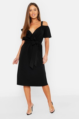 boohoo Petite Plunge Ruffle Belt Midi Dress