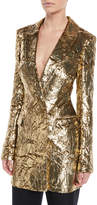 Sally Lapointe Crinkled Silk Velvet Single-Breasted Blazer Dress