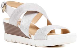 Geox Mary Karmen Metallic Suede Wedge Sandals