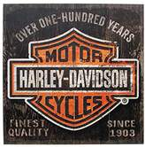 Harley-Davidson 18 x 18 Over One Hundred Years B&S Wood Sign W10-HARL-SHIELD