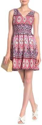 Vince Camuto V-Neck Printed Fit & Flare Dress (Regular & Plus Size)