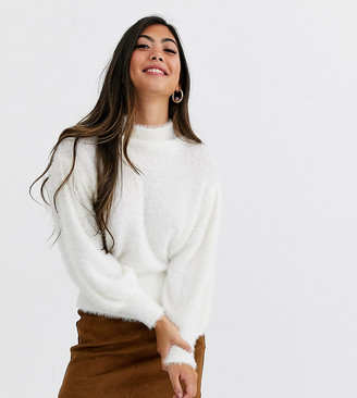 Asos DESIGN Petite eyelash sweater with volume sleeve-White