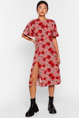 Nasty Gal Womens Stalk My Way Floral Midi Dress - Pink - S, Pink