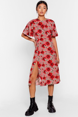 Nasty Gal Womens Stalk My Way Floral Midi Dress - Pink - S