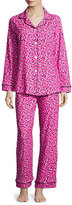 BedHead Demi-Ball Dotted Classic Pajama Set, Fuchsia/Black, Plus Size
