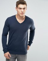Benetton 100% Merino Wool V Neck Sweater