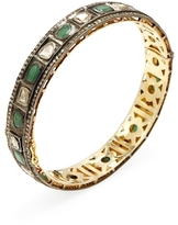 Artisan 18K Gold, Emerald & 3.58 Total Ct. Diamond Bangle Bracelet