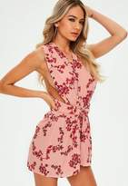 Missguided Pink Printed Multiway Playsuit, Pink