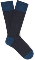 John Smedley Two-tone Ribbed Cotton-blend Socks - Navy