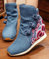 Denim Blue Floral Embroidered Wedge Boot