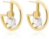 Yael Sonia Spinning Top 18K Gold And Quartz Hoop Earrings
