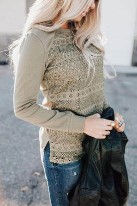 Ampersand Avenue Lace Front Top - Olive