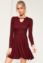 Missguided Burgundy Ribbed Keyhole Skater Dress