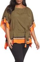 MICHAEL Michael Kors Plus Size Women's Bridle Print Belted Flutter Top