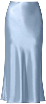 Galvan Valletta Satin Midi Skirt Silver Blue