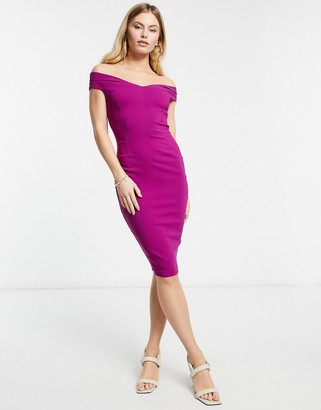 Vesper bardot pencil midi dress in Magenta