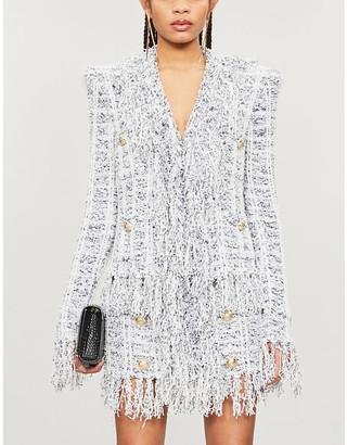 Balmain Check-pattern high-waisted woven skirt