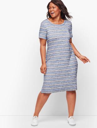Talbots Heathered Stripe Twist Back Dress