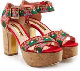 Rupert Sanderson Embroidered Platform Sandals