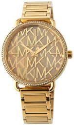 MICHAEL Michael Kors 36.5mm Portia Logo Bracelet Watch w/ Crystals, Yellow Golden