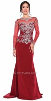 Atria Rhinestone Illusion Long Sleeve Evening Dress