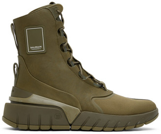 Balmain Khaki B-Army High-Top Sneakers