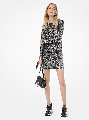 MICHAEL Michael Kors Leopard Sequined Long-Sleeve Dress