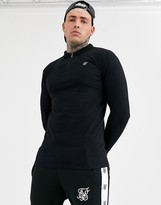 SikSilk muscle fit long sleeve t-shirt with zip detail in black