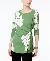 Alfani Petite Printed Side-Tie Top, Only at Macy's