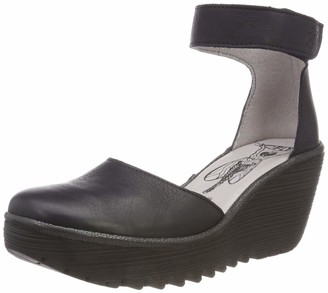 Fly London Women Yand709Fly Ankle Strap Wedges Black (Black/Off White 000) 7 UK 40 EU