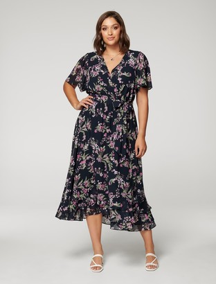 Forever New Tillie Curve Pleated Maxi Dress - Midnight Blossom - 16