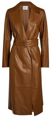 Vince Leather Belted Coat
