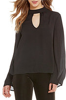 Band of Gypsies Bell Sleeve Mock Neck Top