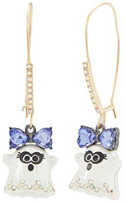 Betsey Johnson Ghost Shepherd's Hook Earrings (Purple) Earring