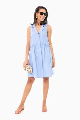 Oxford Blue Sleeveless Royal Shirt Dress