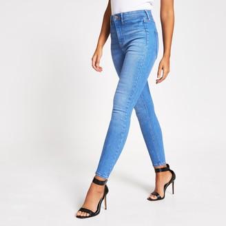 River Island Womens Bright Blue Kaia high waist disco jeans