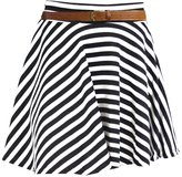 Crazy Girls Womens Ladies Belted Skater Pleated Jersey Plain Leopard Party Skirt (S/M-US4/6, )