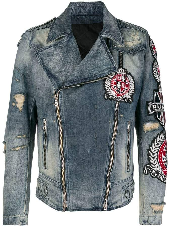 Balmain patch embroidered denim biker jacket
