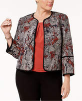 Kasper Plus Size Printed Piping Blazer