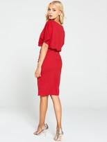 AX Paris Tie Waist Midi Dress - Red